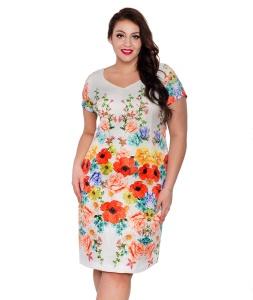 db88d3e0f8 Elegancka żakardowa sukienka z ozdobnym borderem PLUS SIZE wiosna lato