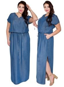 Denimowa jeansowa długa sukienka maxi tencel lyocell PLUS SIZE DENIM LATO  2017 cf3d488ec9