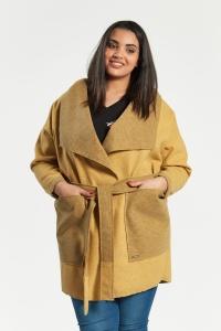 84d9d278cec2 Musztardowy płaszcz kardigan Klara duże rozmiary dla puszystych OVERSIZE  PLUS SIZE WIOSNA