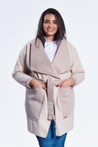 Beżowy płaszcz kardigan Klara duże rozmiary dla puszystych PLUS SIZE WIOSNA 9ef47d737d