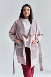 Różowy płaszcz kardigan Klara duże rozmiary dla puszystych PLUS SIZE WIOSNA 56f985919b