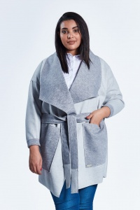 f3fdfd67e8 Szary płaszcz kardigan Klara duże rozmiary dla puszystych PLUS SIZE WIOSNA