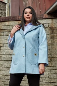 887f2d12ad54 Błękitny Płaszcz Adelajda duże rozmiary OVERSIZE PLUS SIZE WIOSNA