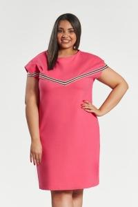 1bef9e5e10 Amarantowa sukienka Jula z lampasami duże rozmiary OVERSIZE PLUS SIZE WIOSNA