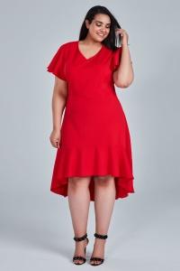 fb54616795 Czerwona sukienka NILA na wesele duże rozmiary OVERSIZE PLUS SIZE WIOSNA