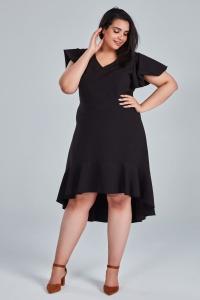 9a27936e92 Czarna sukienka NILA na wesele duże rozmiary OVERSIZE PLUS SIZE WIOSNA