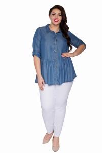 Koszule damskie dżinsowe, duże rozmiary Moda Size Plus Iwanek  ZO2RD
