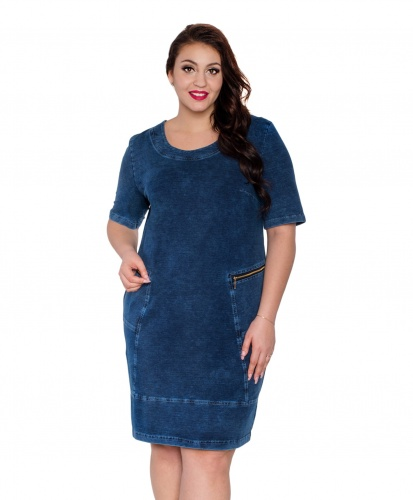 98a63232b1 Jeansowa dzianinowa bawełniana sukienka tuba DENIM OVERSIZE PLUS SIZE Moda  Size Plus Iwanek