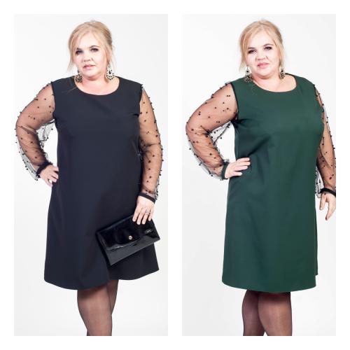 b3546c1b45 Elegancka trapezowa sukienka koraliki MODNE DUŻE ROZMIARY Moda Size ...