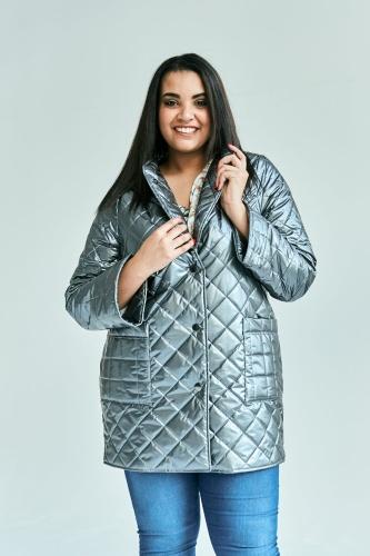b0f2aeb88c Szary metalizowany płaszcz - kurtka OVERSIZE PLUS SIZE WIOSNA Moda ...