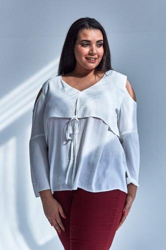 2dcedce417e1de Nowoczesna bluzka w kolorze ECRU z wiązaniem duże rozmiary OVERSIZE ...