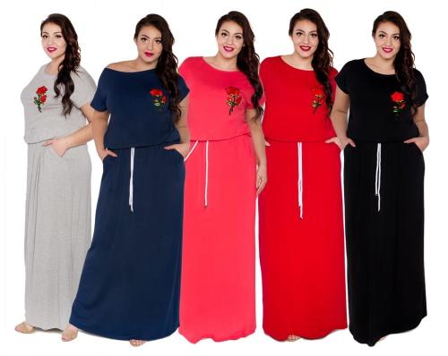 9566f0cd55 Sukienka maxi długa z kieszeniami i sznurkiem oversize PLUS SIZE ...