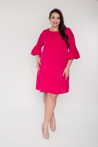 194c74562d Trapezowa amarantowa sukienka rękaw falbanka flamenco oversize PLUS ...