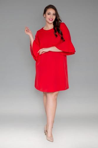 d3f8739293 Trapezowa czerwona sukienka rękaw falbanka flamenco oversize PLUS ...