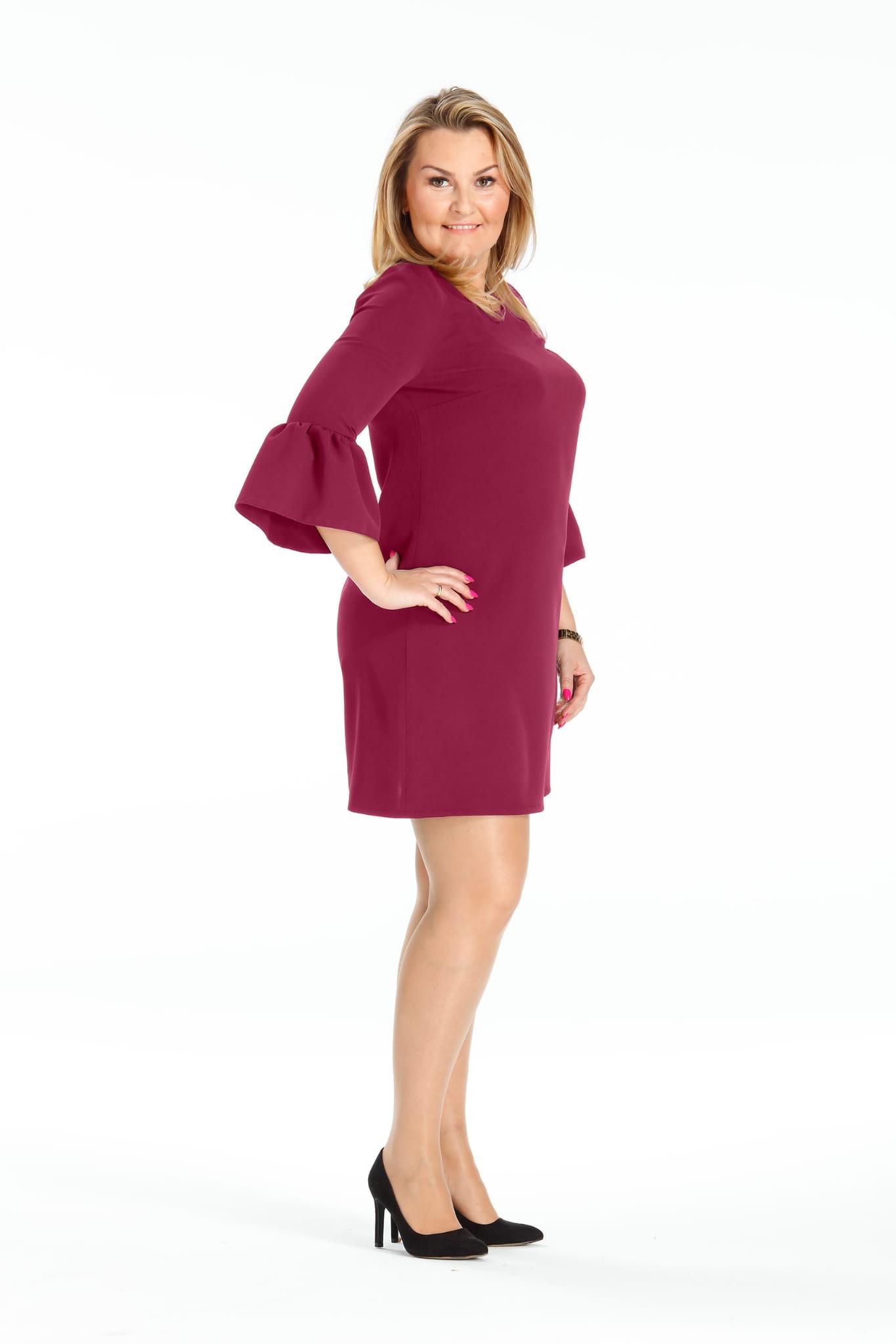 d2e7583c4b Trapezowa sukienka rękaw falbana oversize PLUS SIZE Moda Size Plus ...