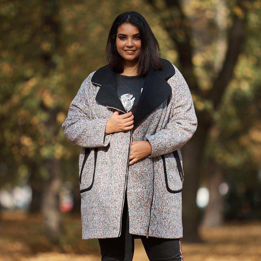 Asymetryczny płaszcz dresowy w odcieniach różu XXL OVERSIZE