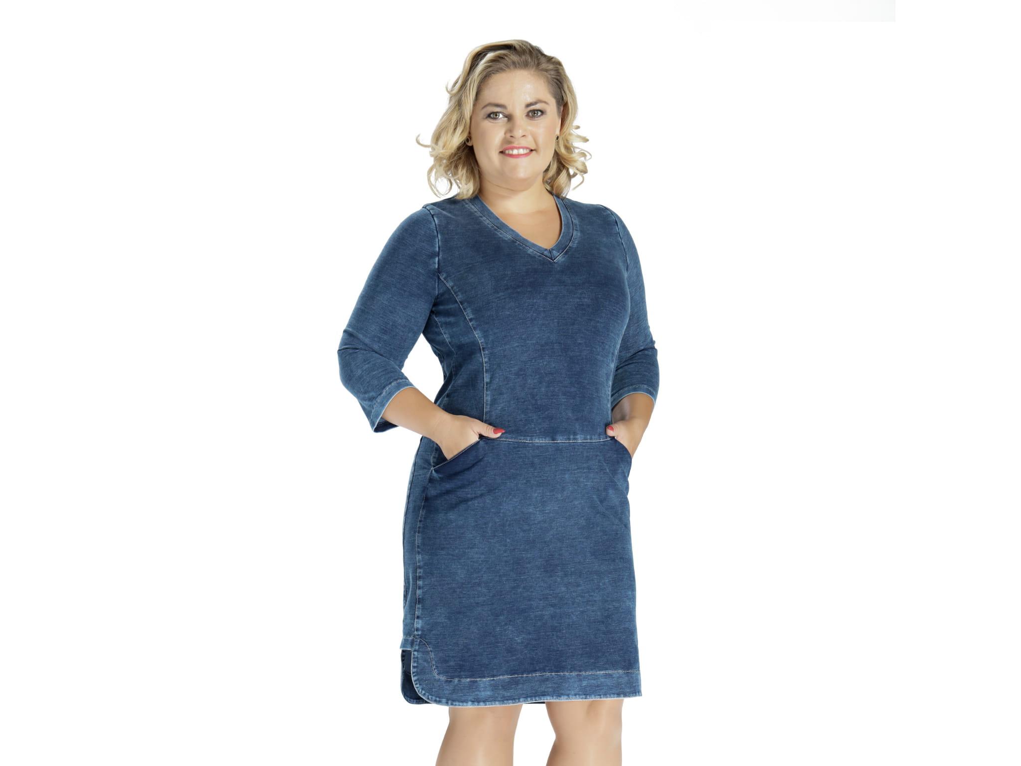 Jeansowa bawełniana sukienka DENIM OVERSIZE PLUS SIZE 96bebcdfe1