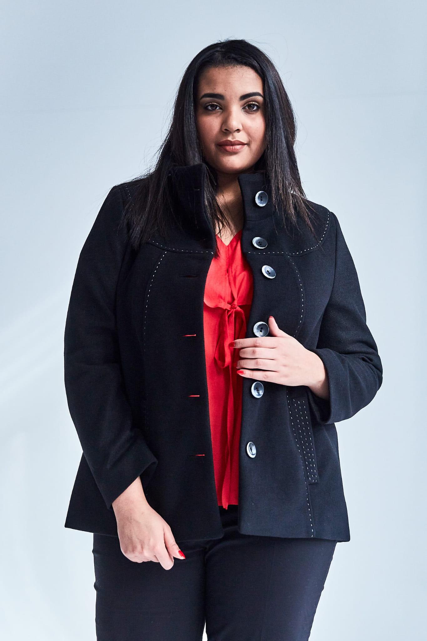 Czarna elegancka kurtka płaszcz Vera OVERSIZE DUŻE ROZMIARY XXL