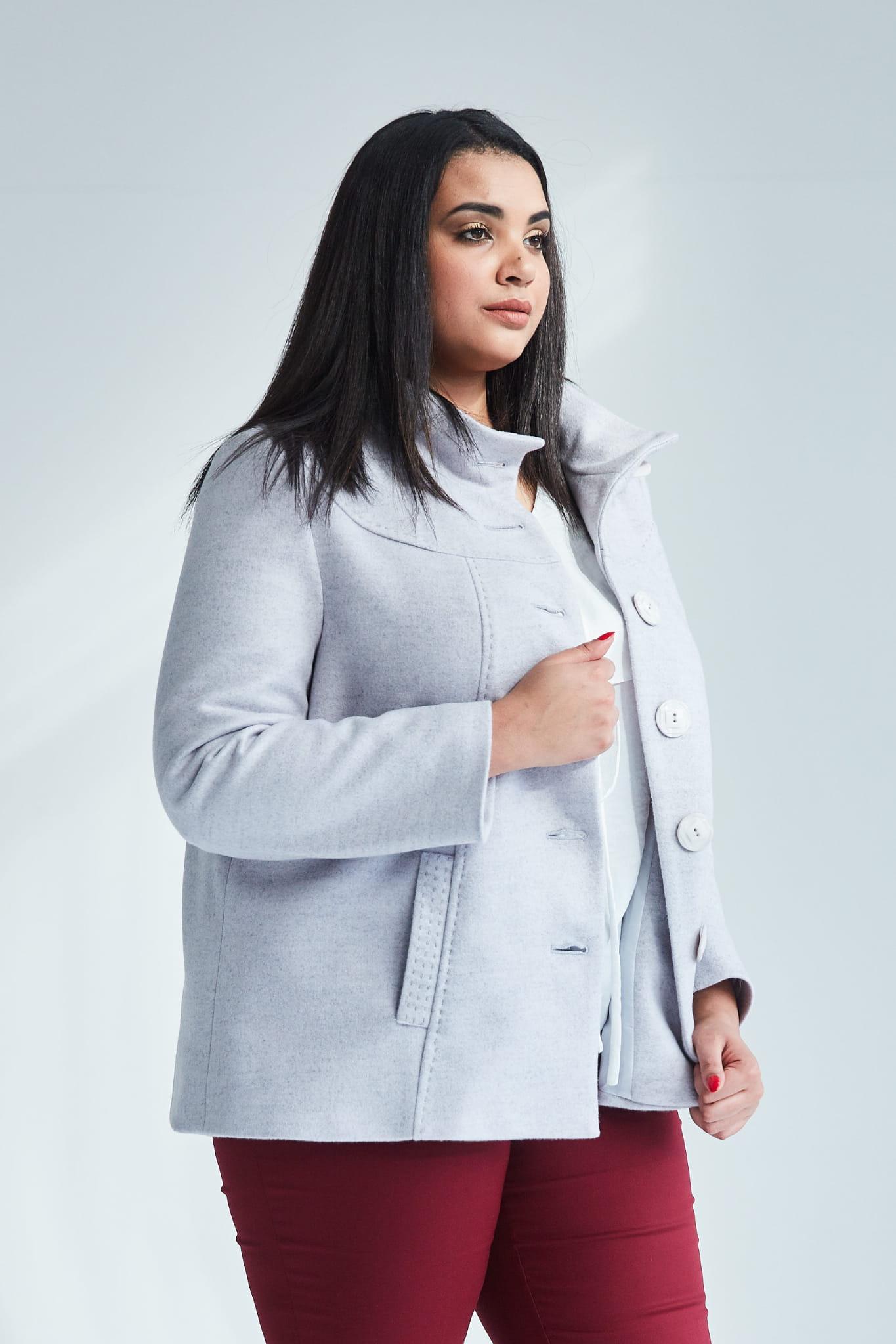 389062ff71 Szara elegancka kurtka płaszcz Vera OVERSIZE PLUS SIZE WIOSNA Moda ...
