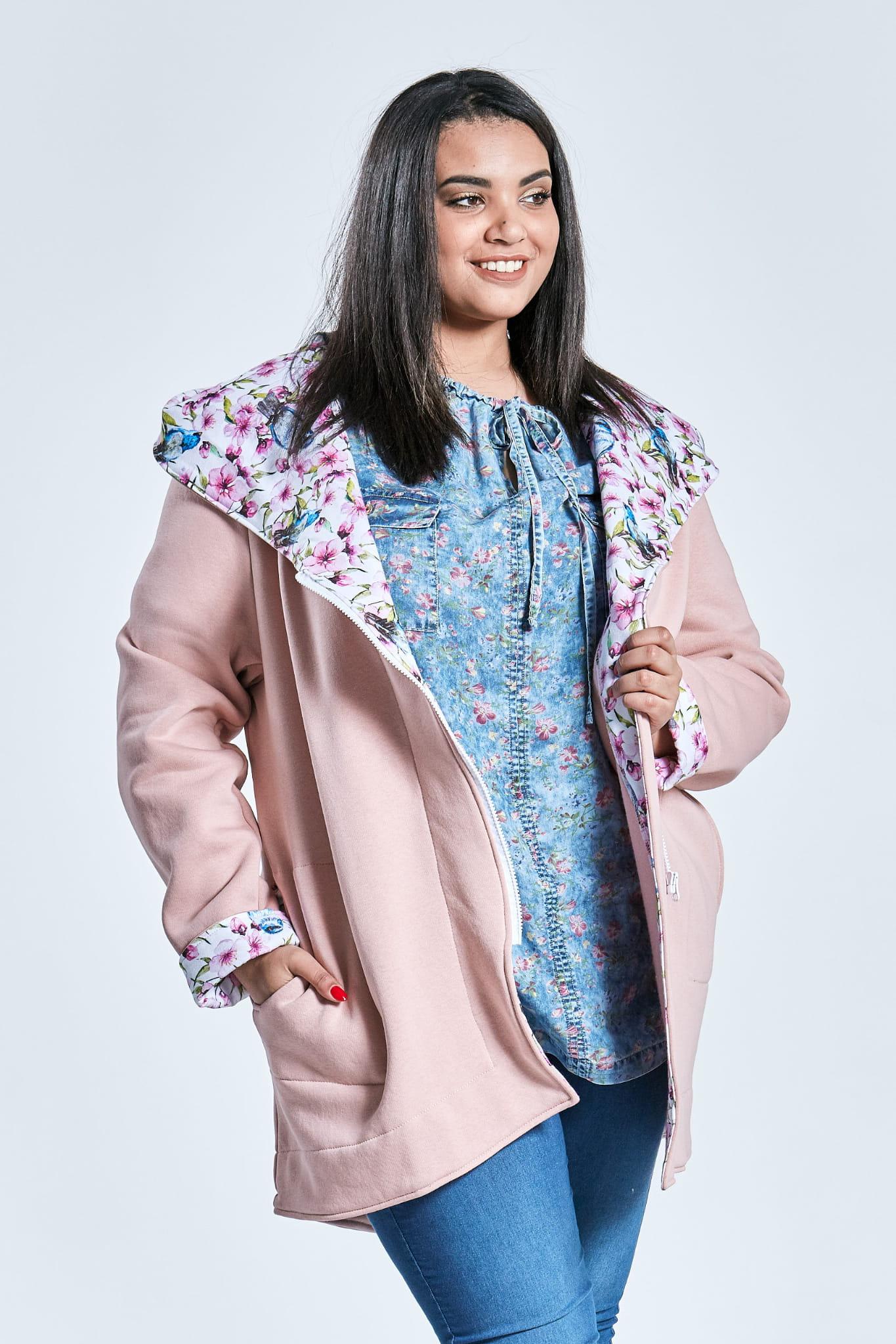 94d0facd0f8058 Różowa bluza dresowa asymetryczny krój duże rozmiary kontrast OVERSIZE PLUS  SIZE WIOSNA