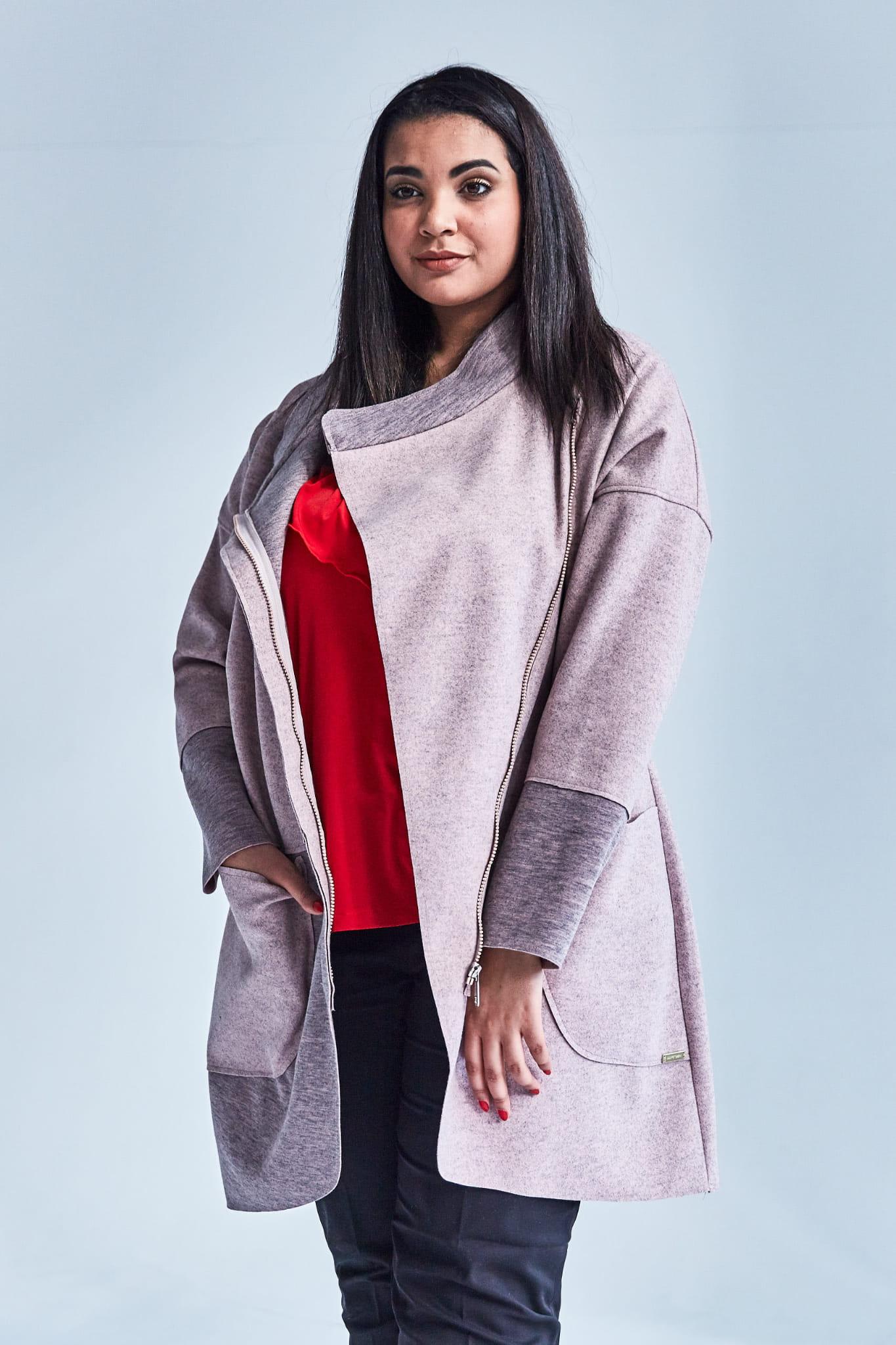 c2f9c6c902 Różowy płaszcz Zosia dla puszystych OVERSIZE PLUS SIZE WIOSNA Moda ...