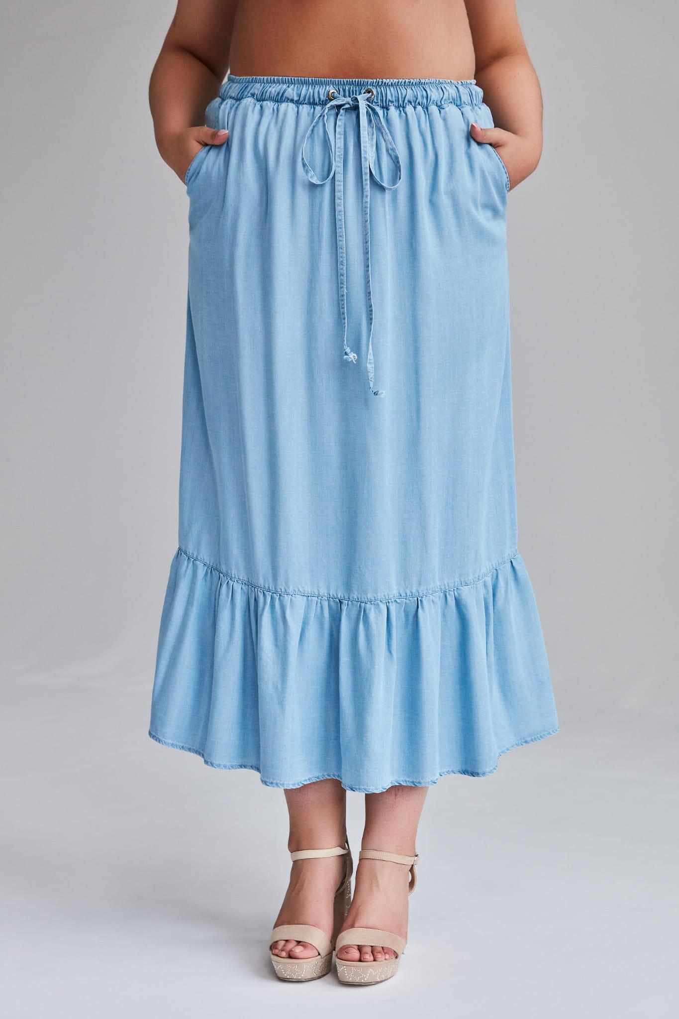 Jeansowa spódnica Dona MAXI na lato duże rozmiary OVERSIZE PLUS SIZE